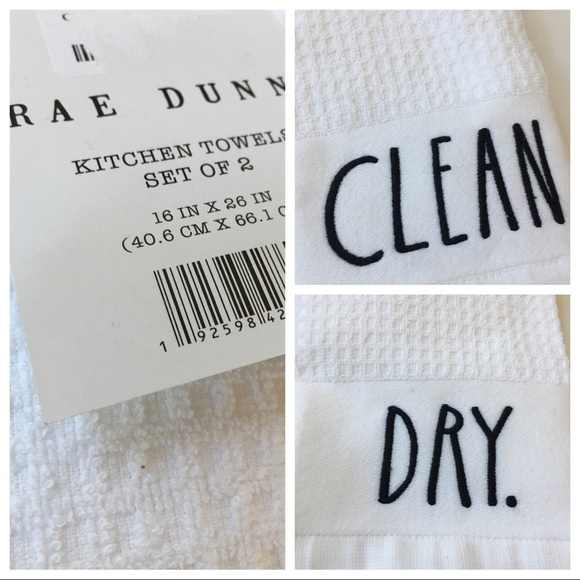 RAE DUNN TOWELS set 2 CLEAN DRY hand dish kitchen